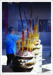 Burning Incense at Thien Hau Pagoda